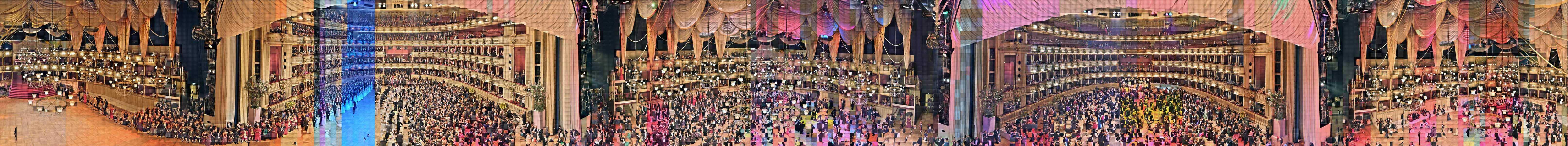 Vienna MMIX – Panorama portrait of a society:  7000 Participants,  10008 Images, one every 3 seconds.  Recorded with 2 interactive network cameras over the entire lenth of the evening from 20:32 – 05:17. Assembled in chronological order. Vienna Opera Ball 2009